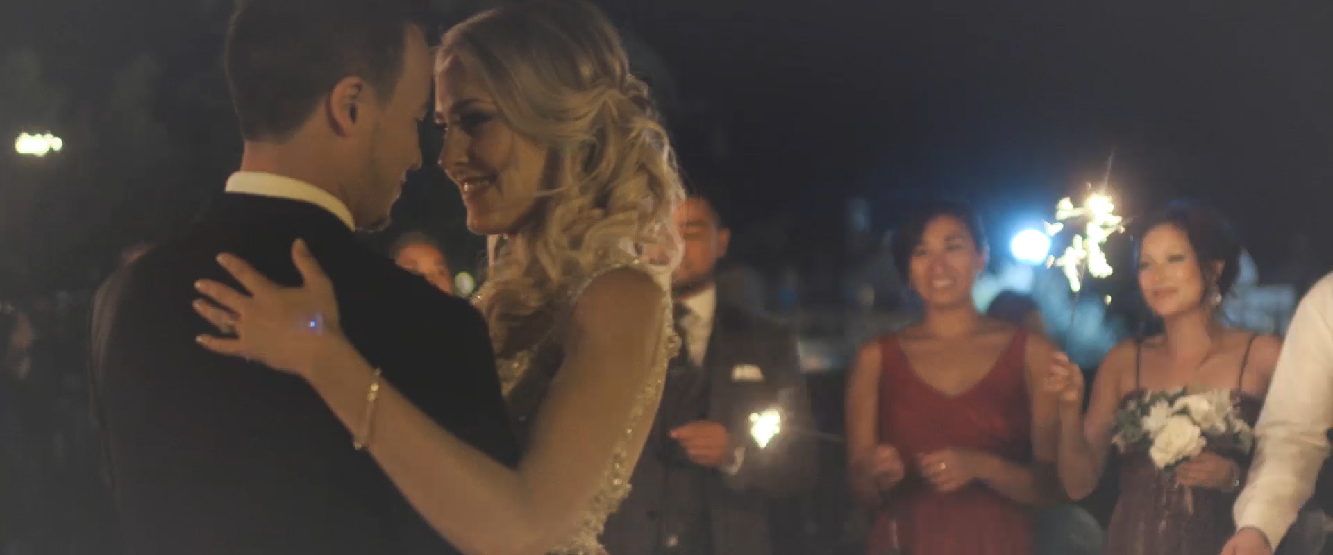 An image of a bride and groom during their first dance at blue mountain; taken from a Toronto Wedding Video