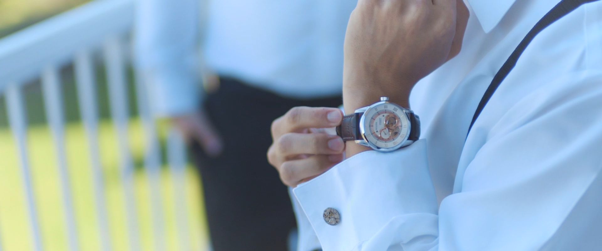 An image of a grooms wedding day watch as he prepares for his wedding day; taken from a Toronto Wedding Video
