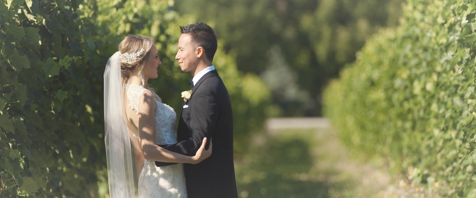 An image of a wedding couple posing for a photo on their wedding day at a vineyard in collingwood; taken from a Toronto Wedding Video