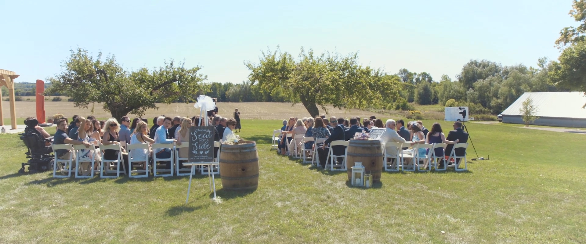 An image of a wedding ceremony at a vineyard in collingwood; taken from a Toronto Wedding Video