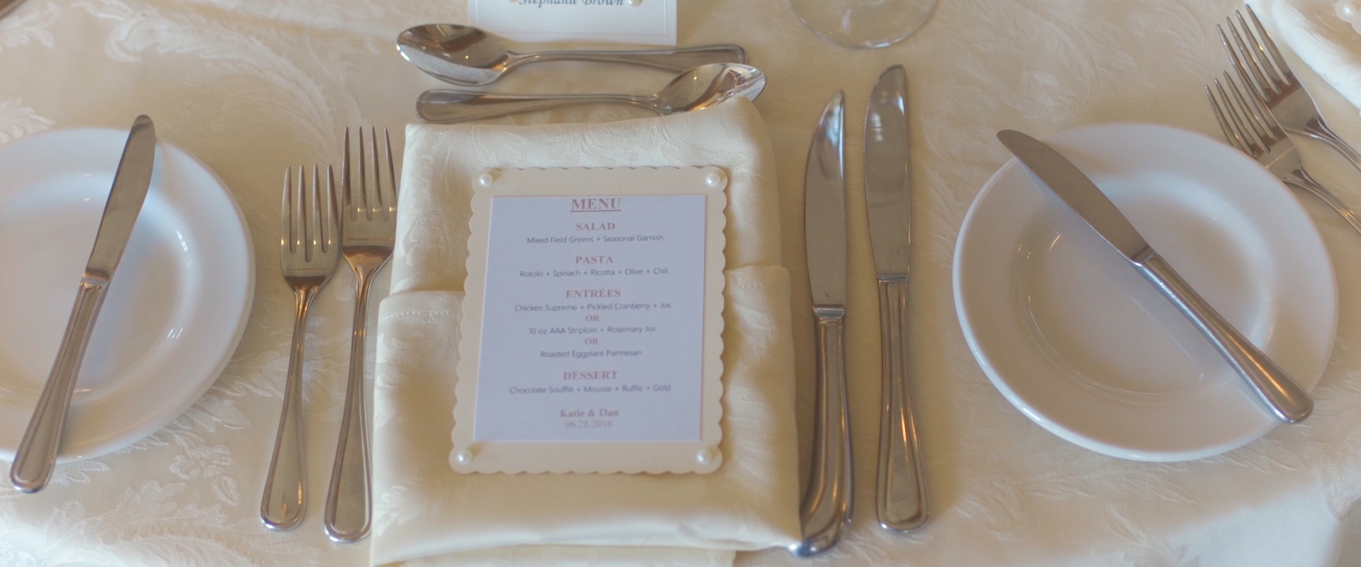 An image of the table decor at a wedding reception at king valley golf course; taken from a Toronto Wedding Video