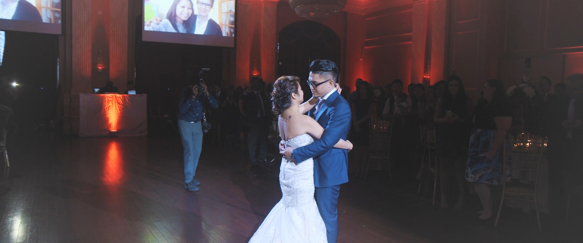 An image of a couple during their first dance at their wedding reception; taken from one of our Toronto Wedding Videos
