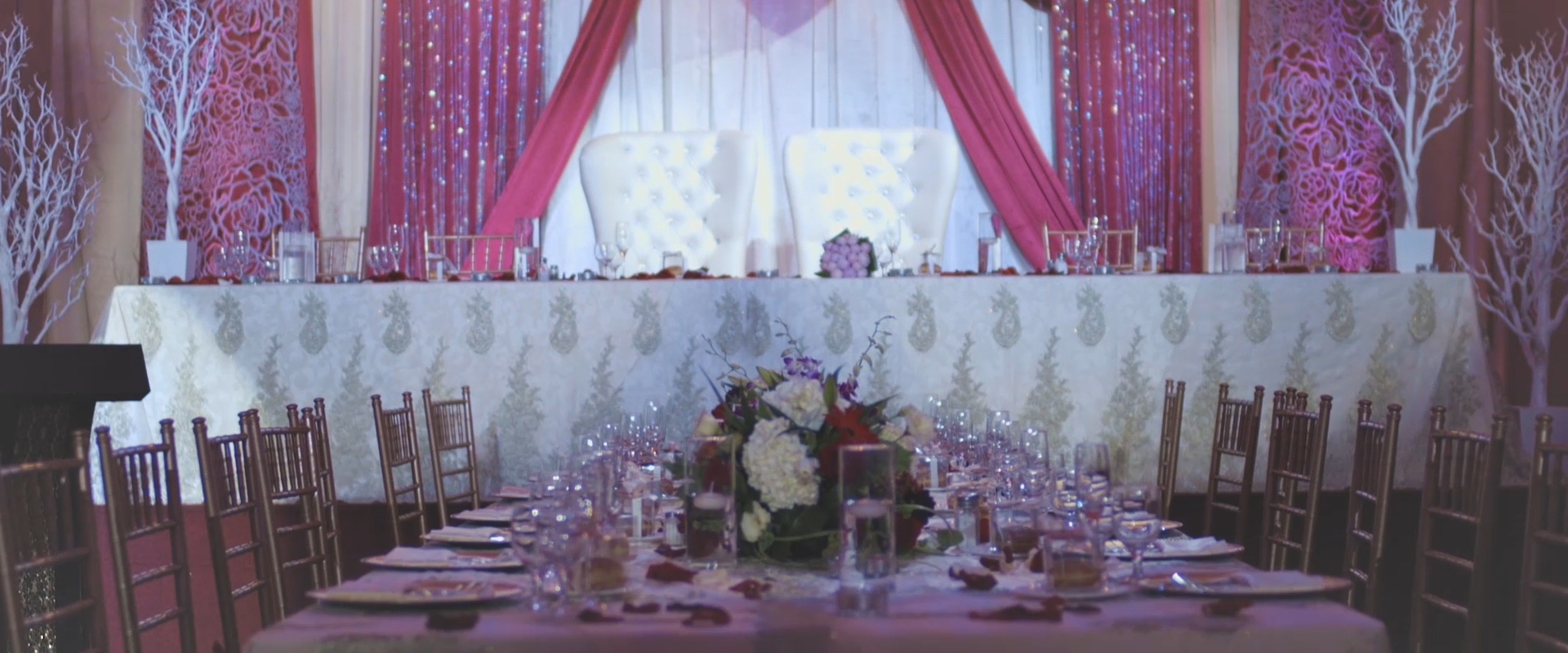An image of a couples head table; taken from one of our Toronto Wedding Videos