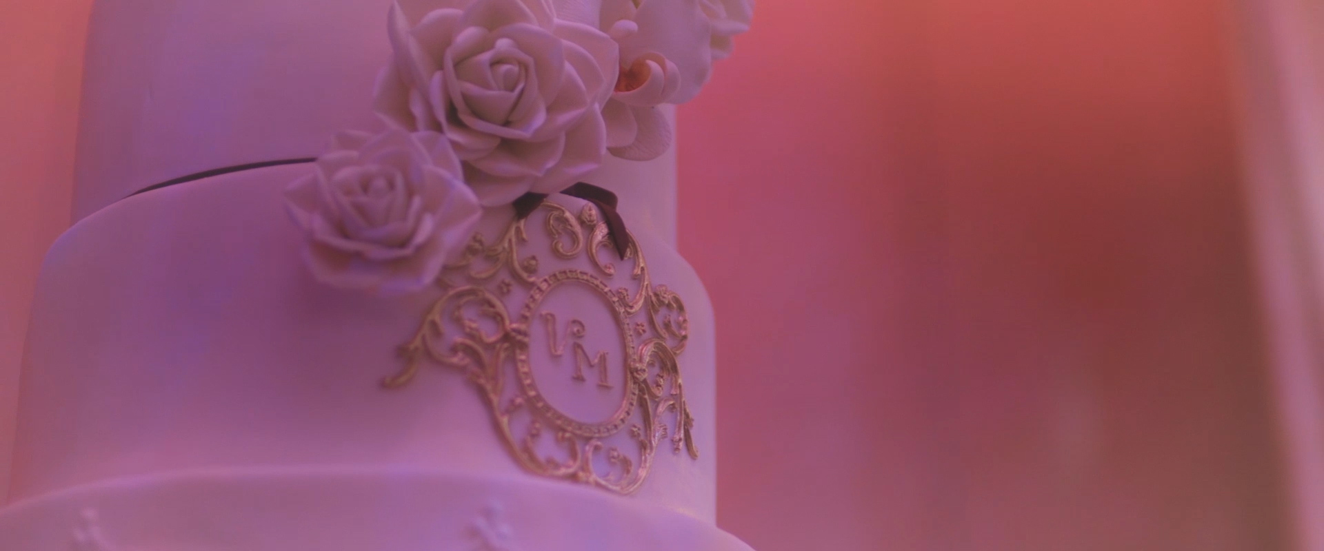 An image of a couples wedding cake; taken from one of our Toronto Wedding Videos