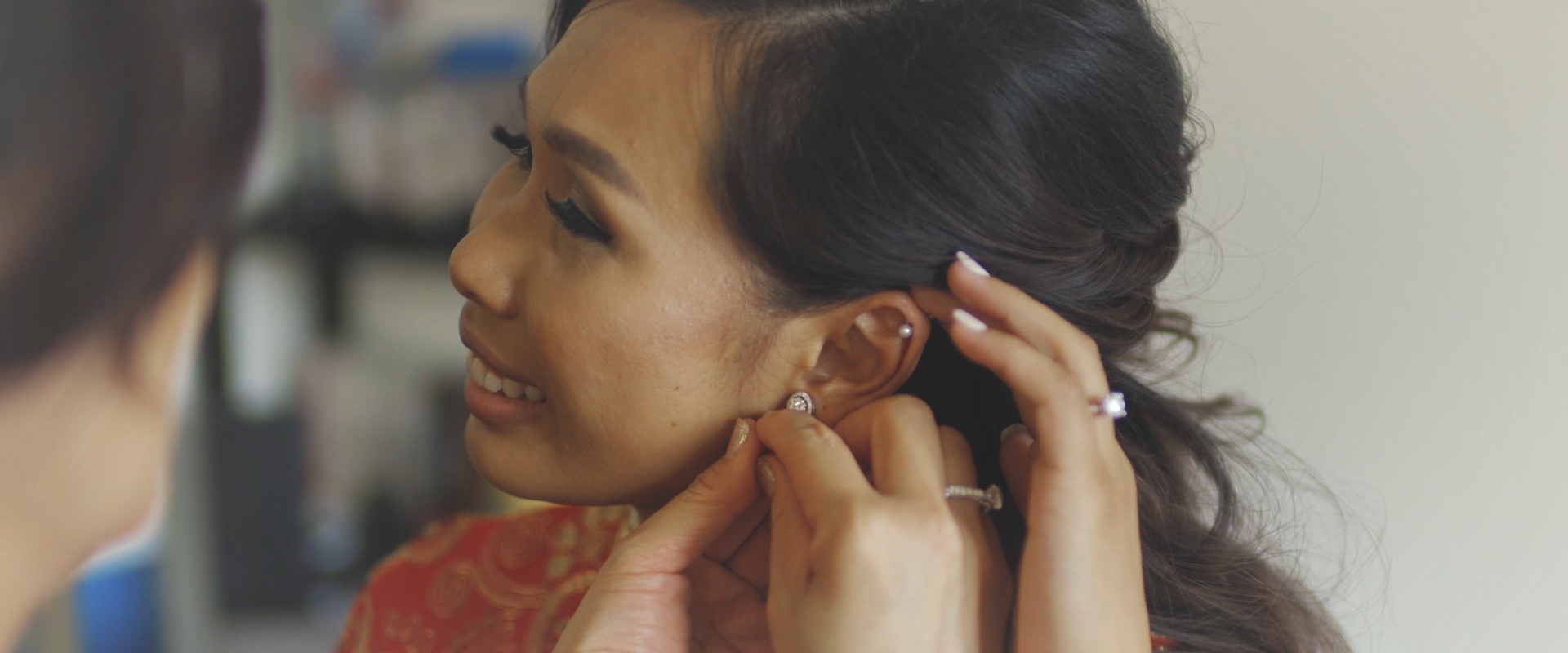 An image of a bride getting ready for her wedding day; taken from a Toronto Wedding Video