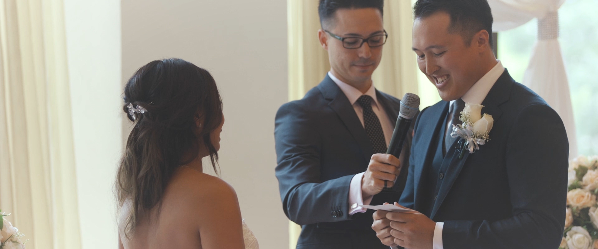 An image of a groom reciting his vows at his wedding ceremony; taken from a Toronto Wedding Video