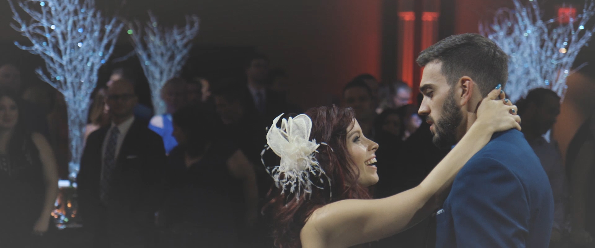 An image of a bride and groom during their first dance; taken from a Toronto Wedding Video