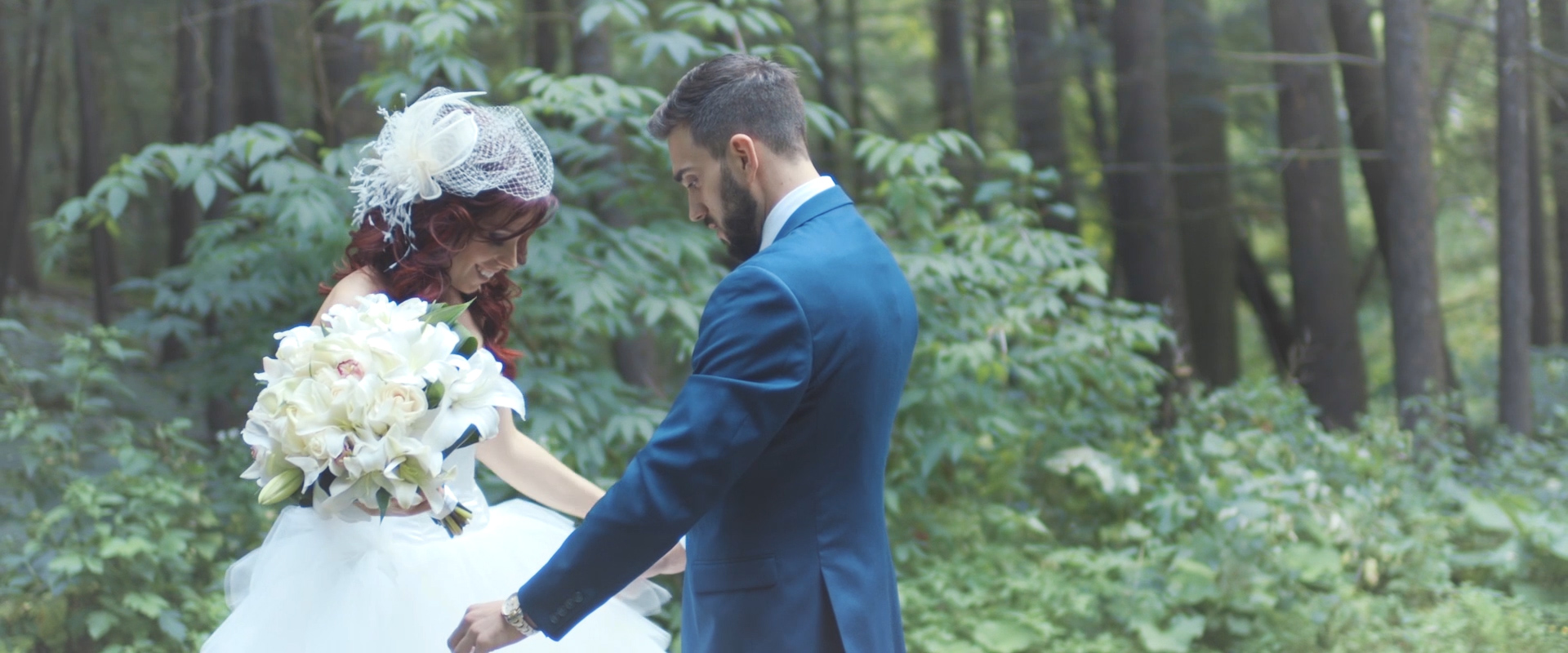 An image of a wedding couple during their first look; taken from a Toronto Wedding Video