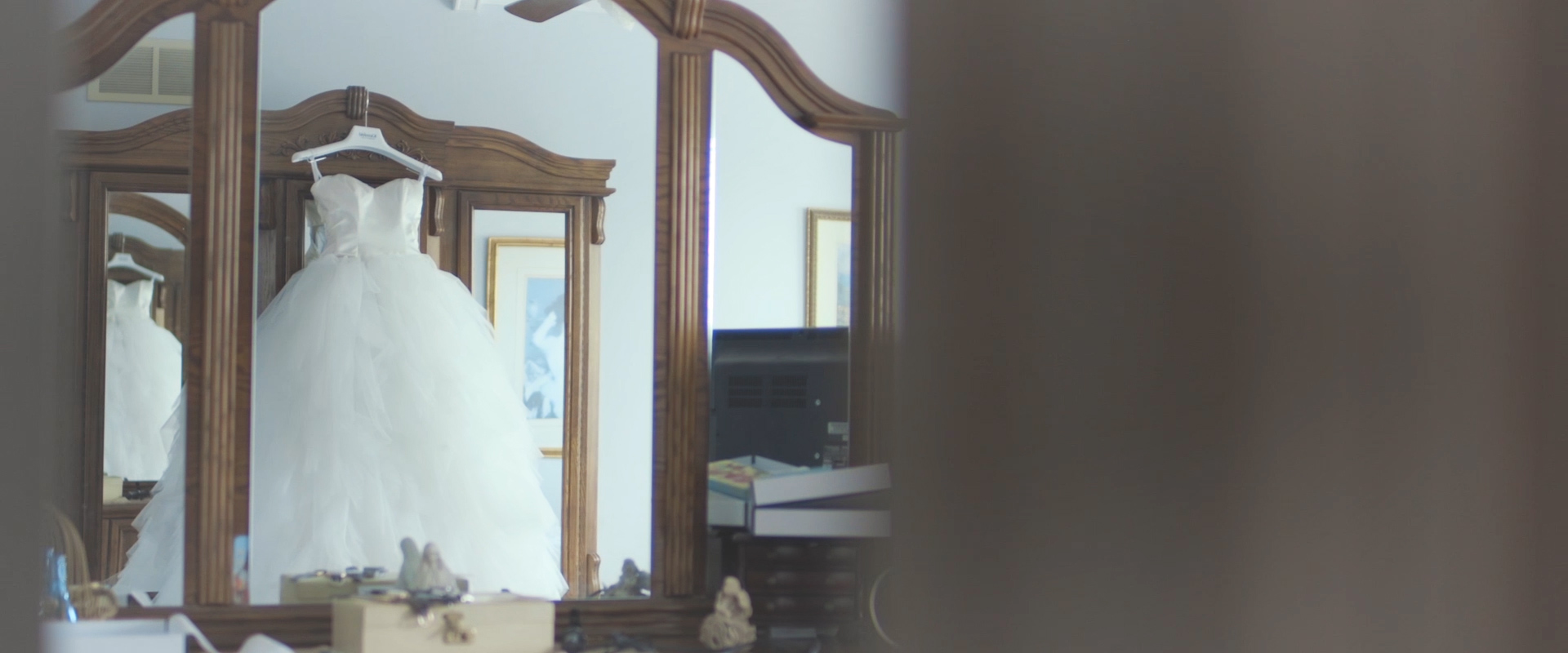 An image of a brides dress; taken from a Toronto Wedding Video